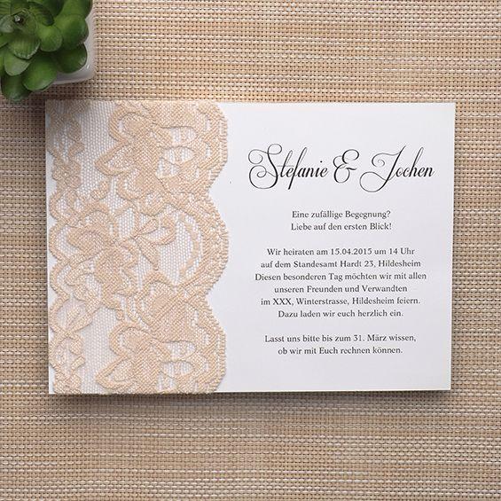 elegante beige spitze hochzeitskarte einladungen p opl06