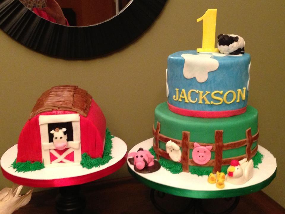 Farm Themed Cake With Barn Smash Cake And Fondant Animals Smash
