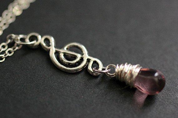 Purple Teardrop Necklace. Musical Note Necklace. Music Necklace. Treble Clef Necklace in Silver. Handmade Jewelry. by TheTeardropShop from The Teardrop Shop. Find it now at http://ift.tt/1tnT5kq!