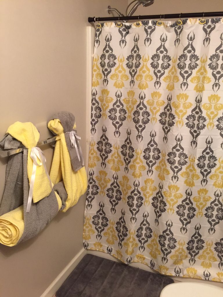 Bathroom Towel Decor Yellow And Gray Bathroom Design With