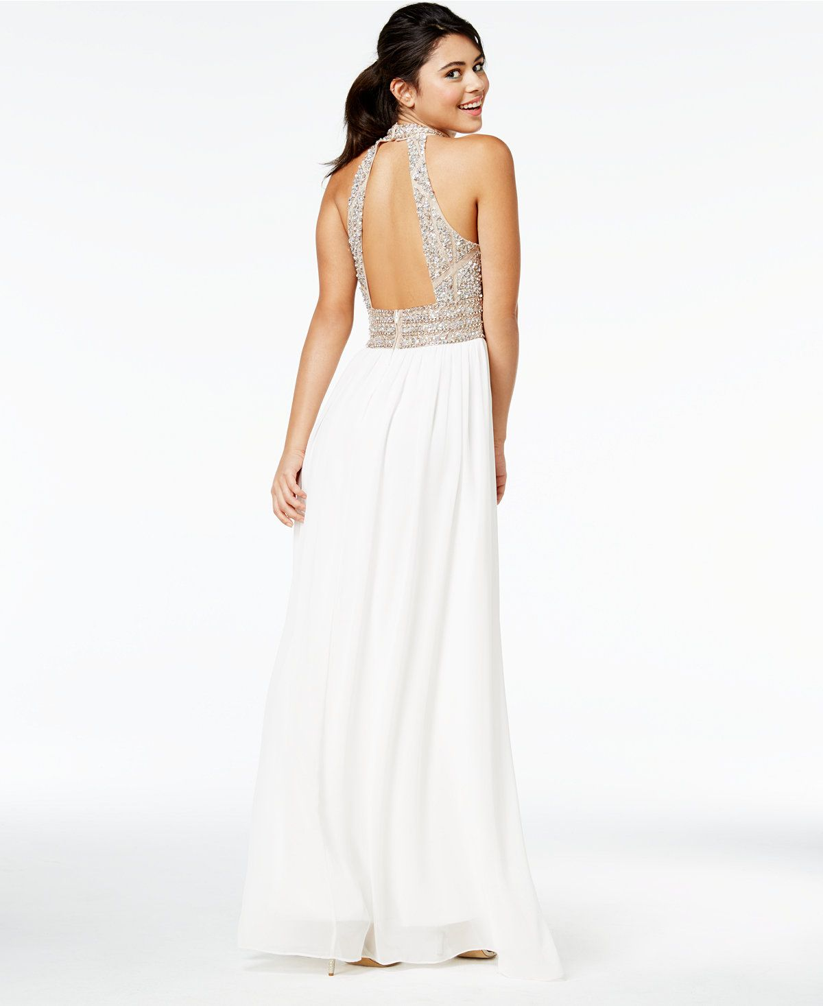 d4d056c152b68 Say Yes to the Prom Juniors' Embellished Halter Gown, A Macy's Exclusive -  Dresses - Women - Macy's