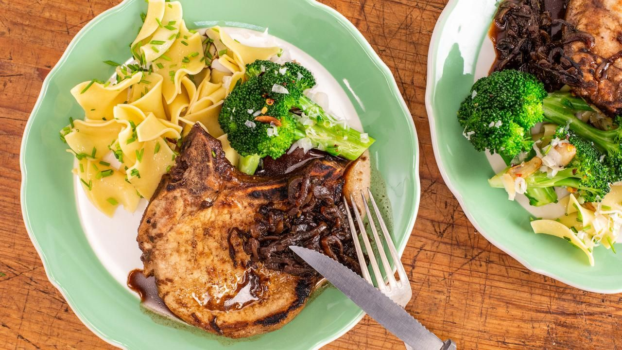 Emeril's Thin-Cut Pork Chops with Rosemary-Balsamic Glazed Shallots images