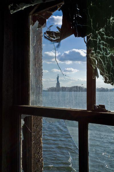 Statue of Liberty as seen from measles ward  Quarantine Hospital, Ellis Island, NY