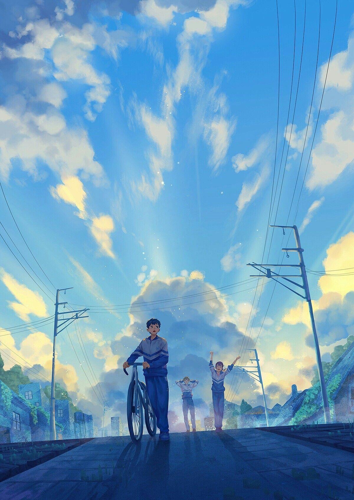 Anime Art Pemandangan Anime Pemandangan Khayalan Ilustrasi Alam