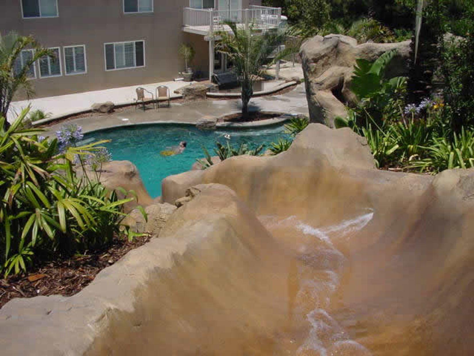 Photo Gallery of Swimming Pool Rockslides & Waterfalls