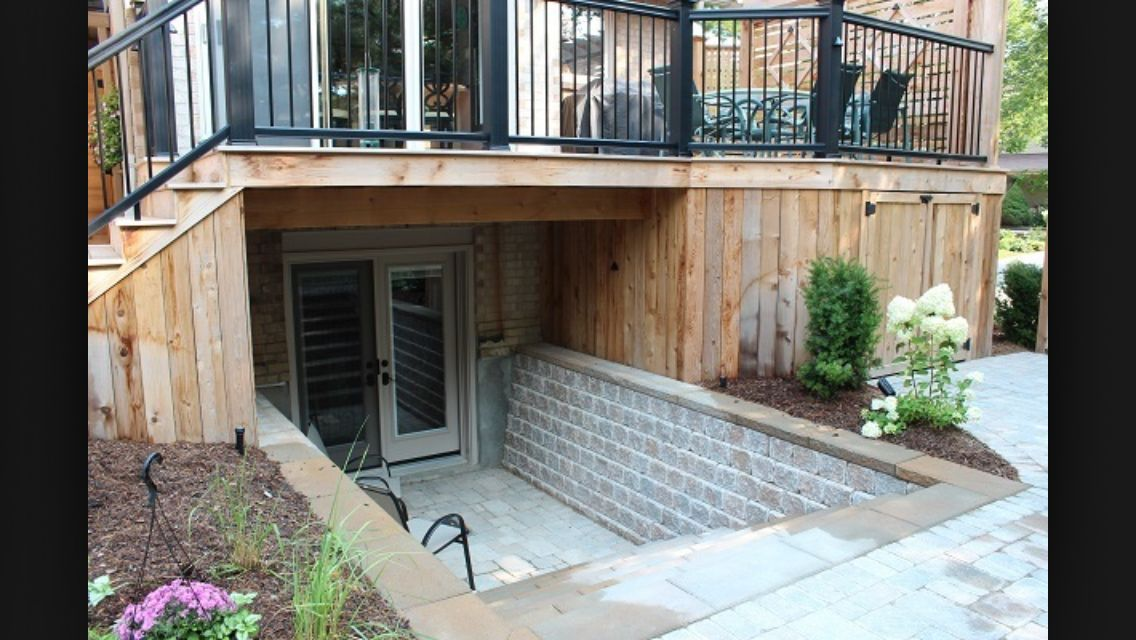 Basement entrance with deck pinterest for Adding exterior basement entry