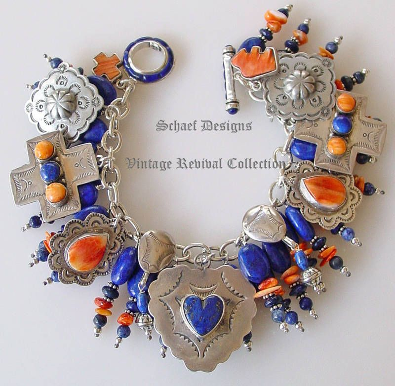 Schaef Designs sterling, lapis and spiny oyster charm bracelet