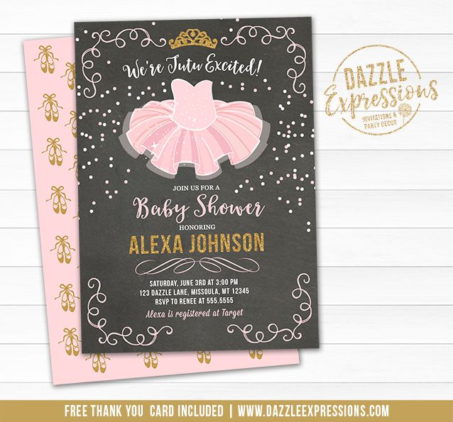 Printable Pink And Gold Tutu Chalkboard Baby Shower