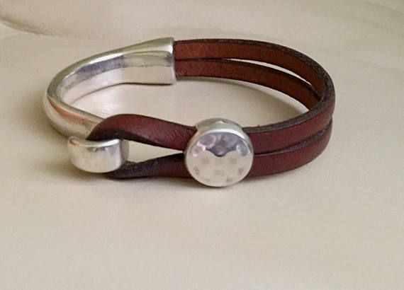 Leather And Silver Cuff Bracelet For Women Genuine