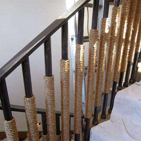 Best Rope Staircase Railing Bannister Wrapped Around Steel 400 x 300