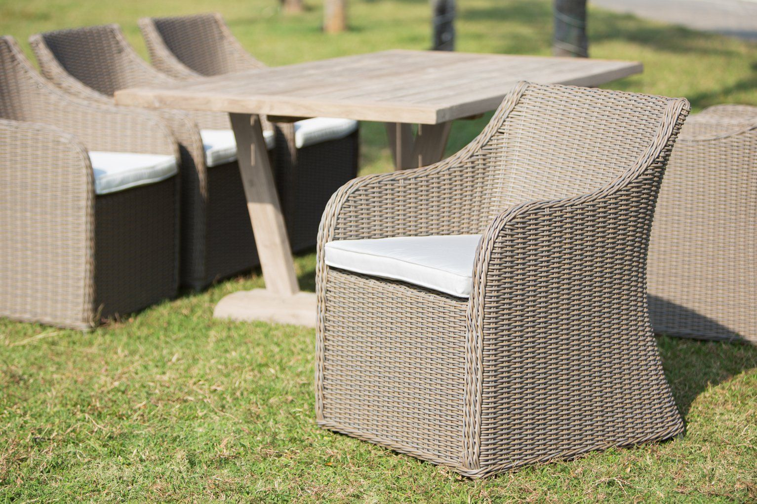 Our Outdoor Porto Fino Chair Is Made With A Lightweight Aluminum Frame Then Hand Woven With Our All Weather Patio Dining Chairs Outdoor Armchair Dining Chairs