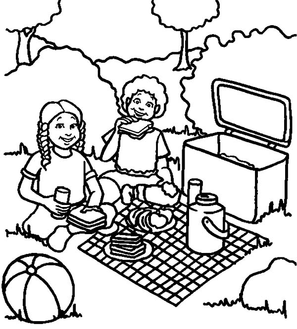 I Eat A Lot Of Sandwich At Family Picnic Coloring Pages Netart Family Coloring Pages Coloring Pages Family Picnic