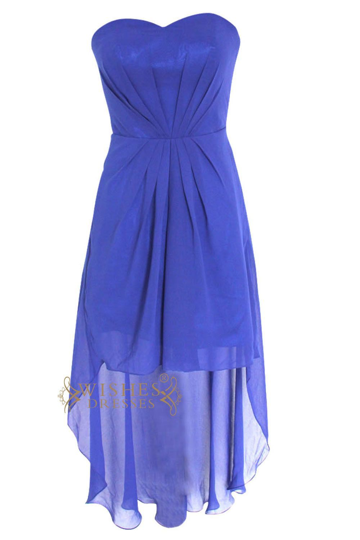 67d6cd49aaf A-line Sweetheart Royal Blue Chiffon High Low Prom Dress Am97 ...