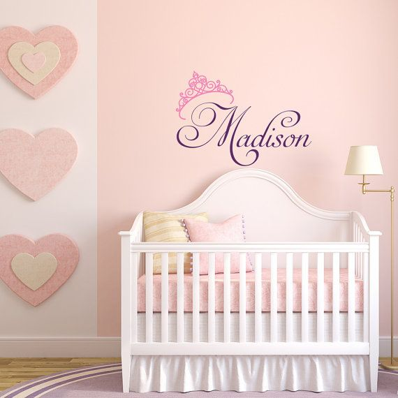 Girls name wall decal princess wall decal personalized name