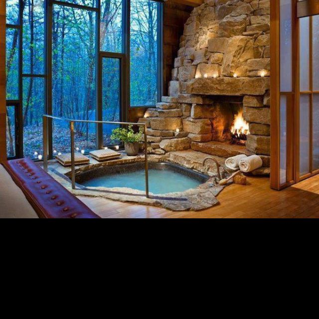 Pin By Nancy Robison On Home Decor Indoor Hot Tub Indoor Fireplace Dream House