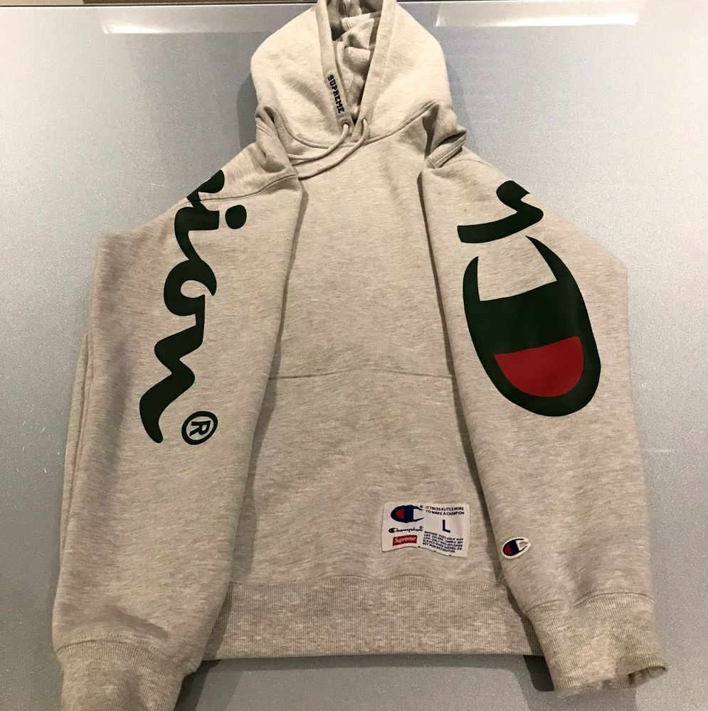 Supreme Champion Ss18 Hooded Sweatshirt Hoodie Ash Grey Large Fashion Clothing Shoes Accessories Mensc Hooded Sweatshirts Sweatshirts Hoodie Large Clothes [ 1000 x 995 Pixel ]