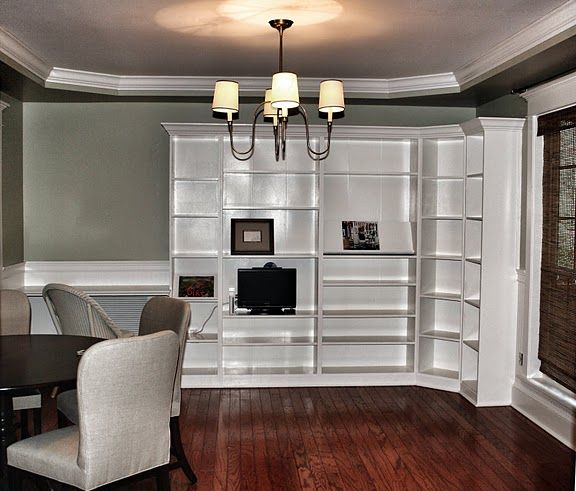 add crown molding to built-ins.