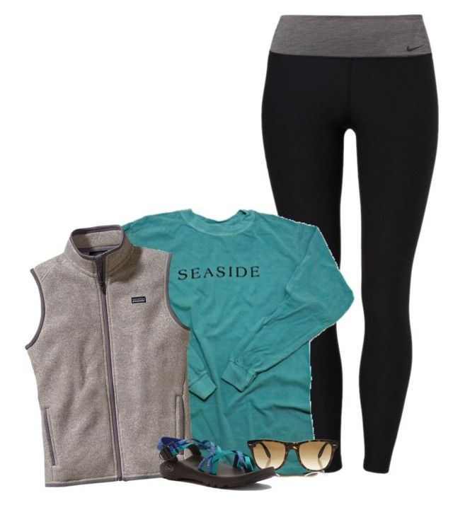 """""""//#OOTD//"""" by preppybelle ❤ liked on Polyvore featuring NIKE, Patagonia, Ray-Ban, Chaco, women's clothing, women, female, woman, misses and juniors"""