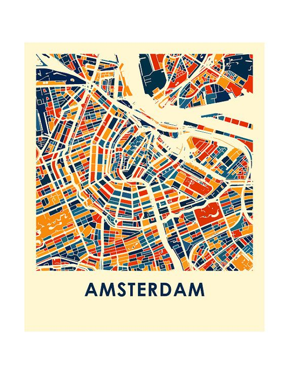 amsterdam map print full color map poster en 2019. Black Bedroom Furniture Sets. Home Design Ideas
