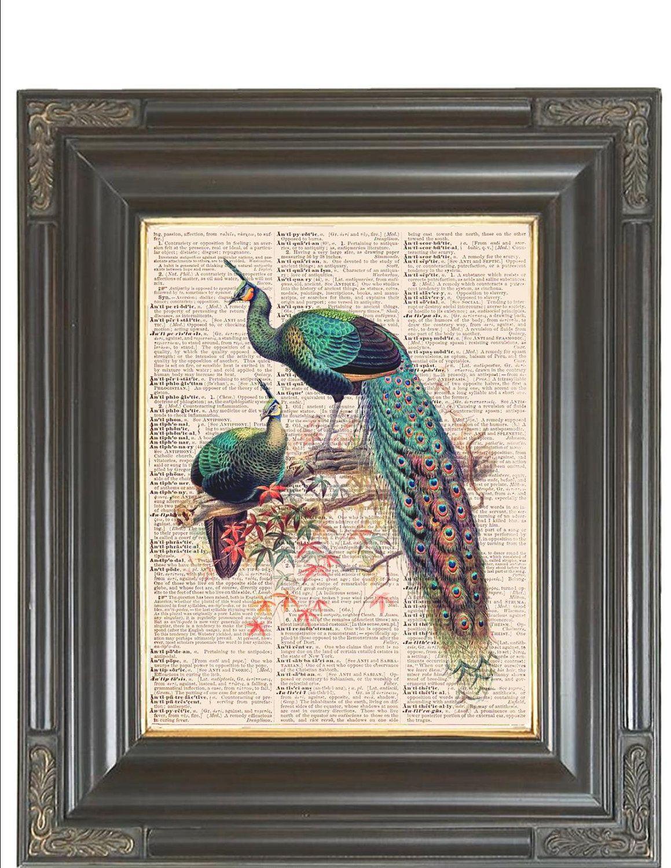 Peacock Print On Dictionary Or Music Page Coupon Sale Dictionary Art Print Digital Print Wall
