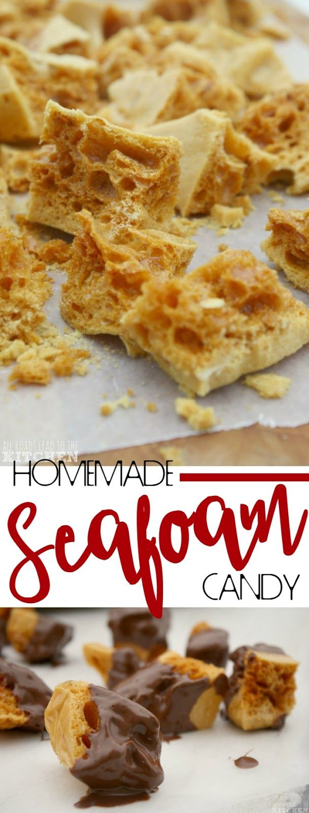 Homemade Seafoam Candy (aka Sponge Candy, Honeycomb, Hokey Pokey, Cinder Toffee) #honeycombcandy