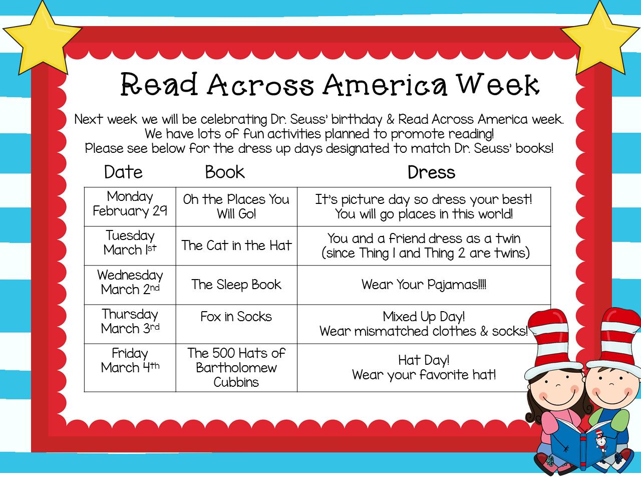Read Across America | Kindergarten Korner | School spirit week, America idea, Dr seuss books