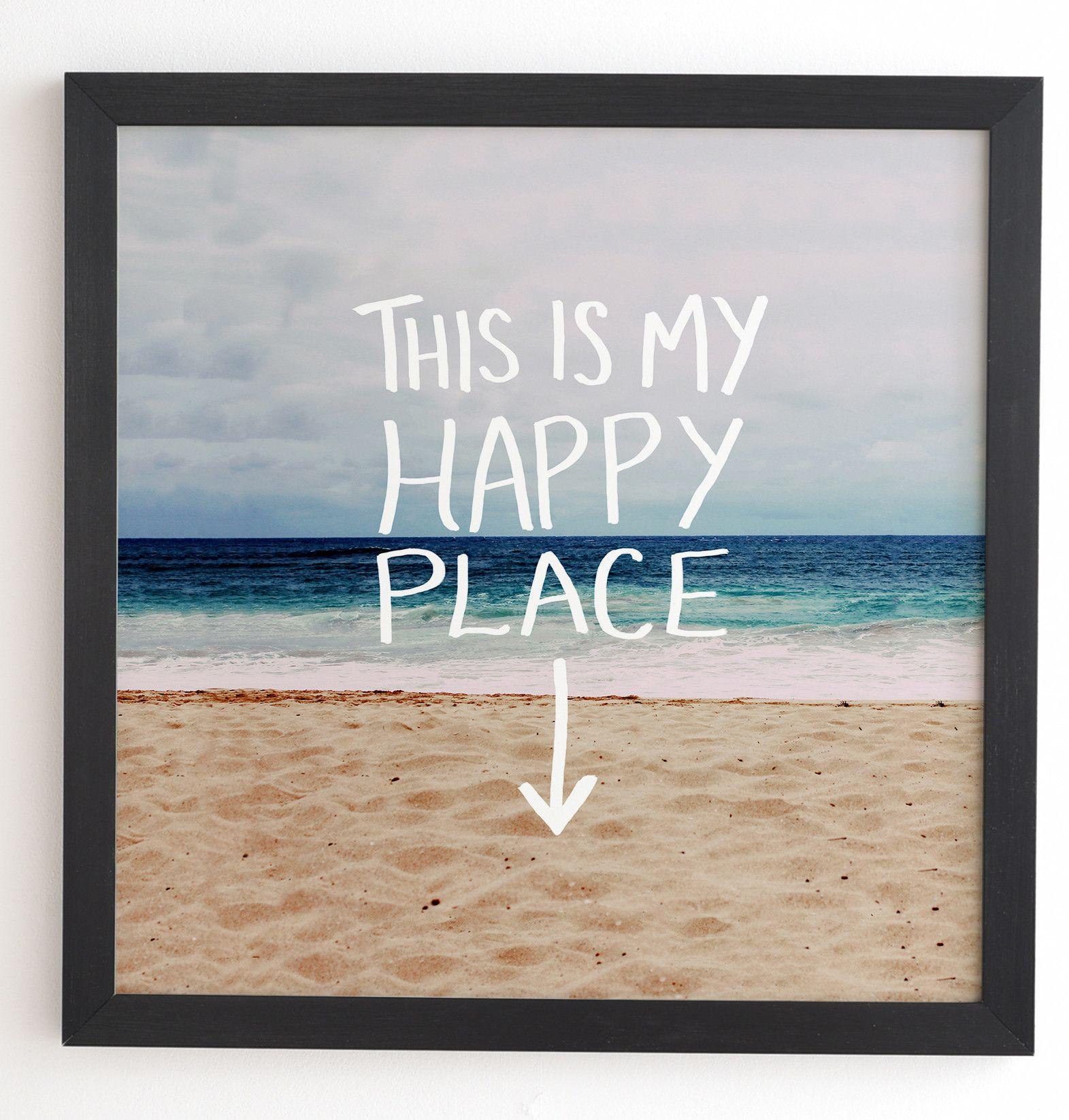 Happy Place X Beach Framed Textual Art Beach Frame Beach Wall