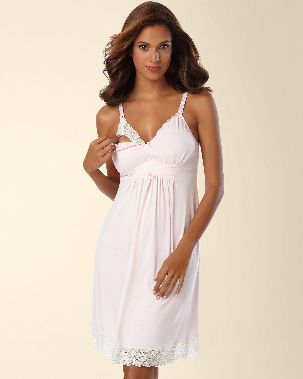 396ab19b95bfd Belabumbum Nursing Sleep Chemise With Contrast Lace #Sleep#Nursing# Belabumbum | Chemises Nightgown | Chemise, Nursing robe, Night gown