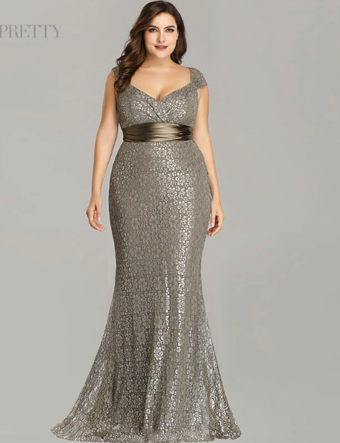 5041349dc7c Plus Size Evening Dresses 2019 Ever Pretty EP08798CF Elegant Mermaid Lace  Sleeveless Party Gowns Vintage Sexy