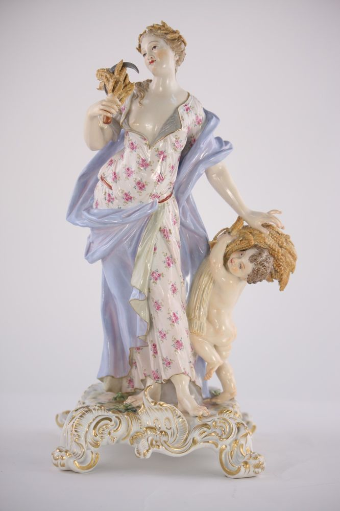 PAIR OF MEISSEN PORCELAIN FIGURINES - of a woman with a cherub, elements, season #Meissen