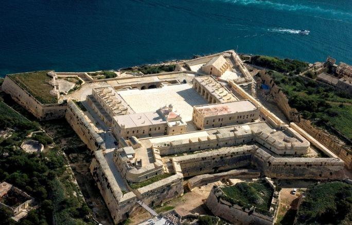 Aerial view of Fort Manoel, Malta Fort, Star fort
