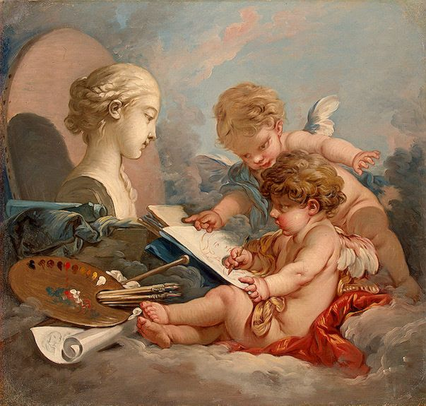 Cupids Allegory Of Painting 1760s Boucher Francois Oil