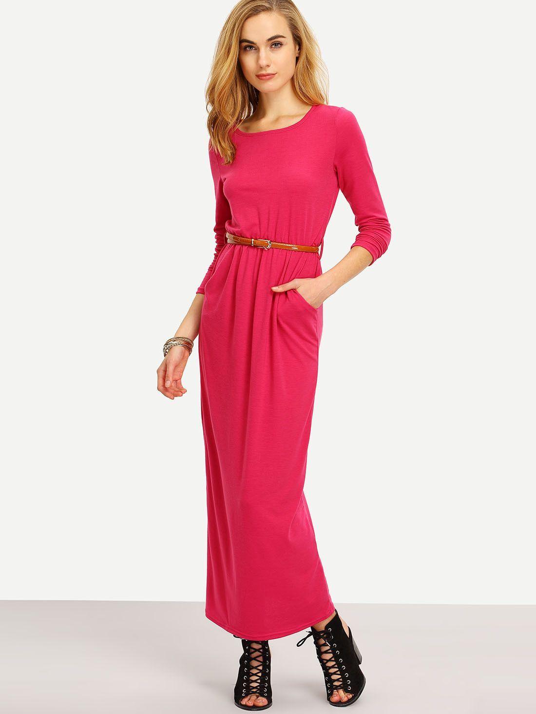 Hot pink long sleeve pockets maxi dress hot pink maxi dresses and