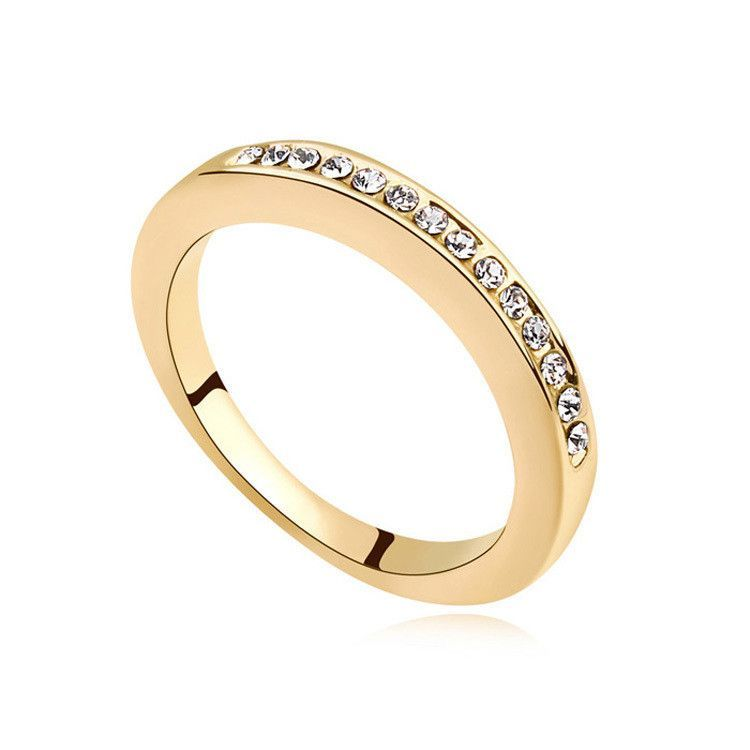 Best Quality Gold Wedding Rings Made With Swarovski Elements Crystal For Women Engagement Ring Fine Jewelry