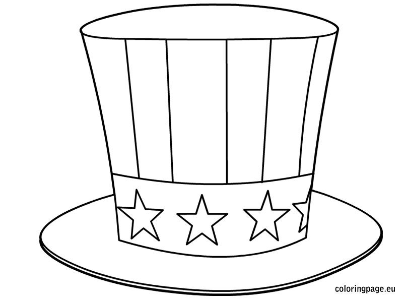 Uncle Sam S Hat Coloring Page 4th Of July Pinterest Sam Hat Coloring Page