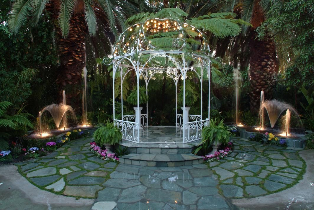 Lovely Garden Arch With Fairy Lights And Water Features Dream