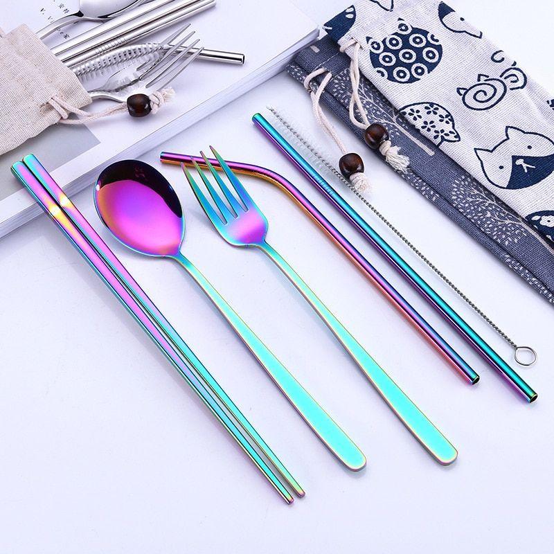 Cutlery Reusable Metal Straw Tableware Dinnerware Set Spoon Fork Chopsticks