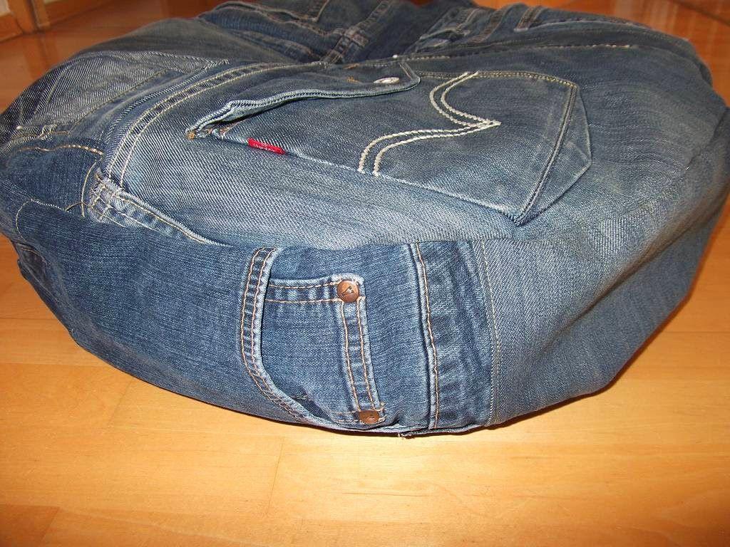 kissen aus jeans naehen, rundes kissen aus alter jeans / round pillow made from old jeans, Design ideen