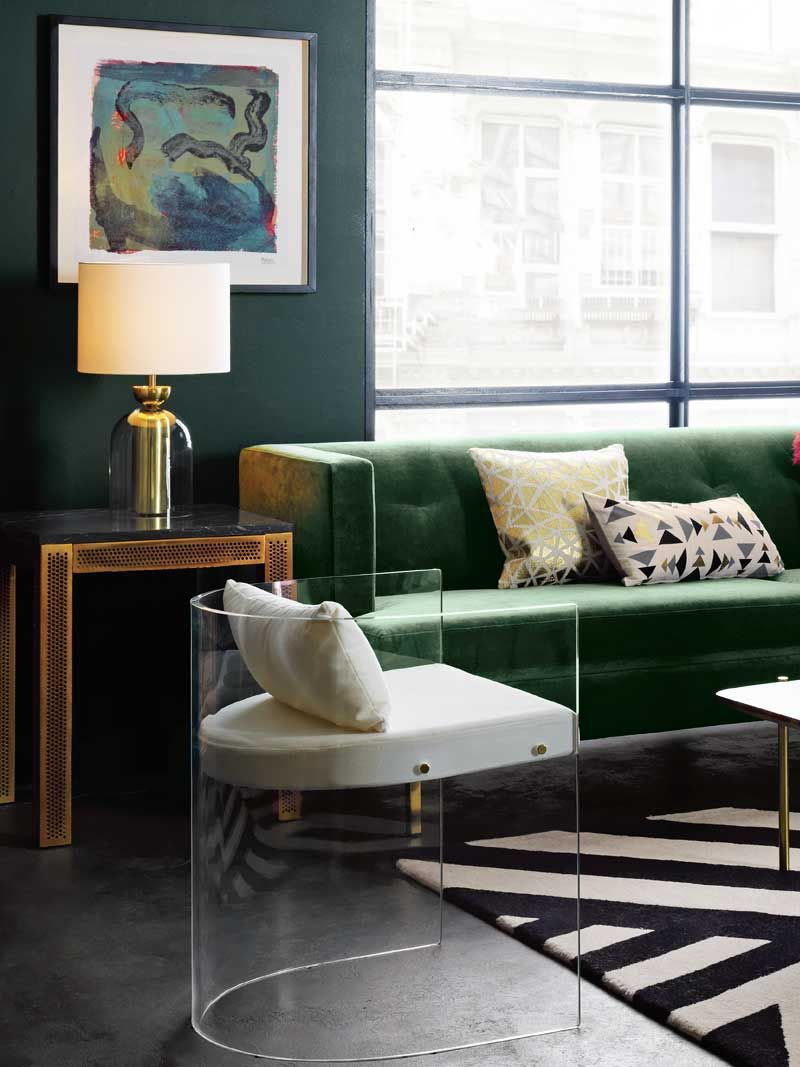 High Design From Cb2 S New Collection Thou Swell Cb2 Living Room Black Living Room Living Room Green