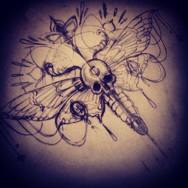 Feather Arrow Skull Moth Tattoo Design | Bees | Moth tattoo, Tattoos ...