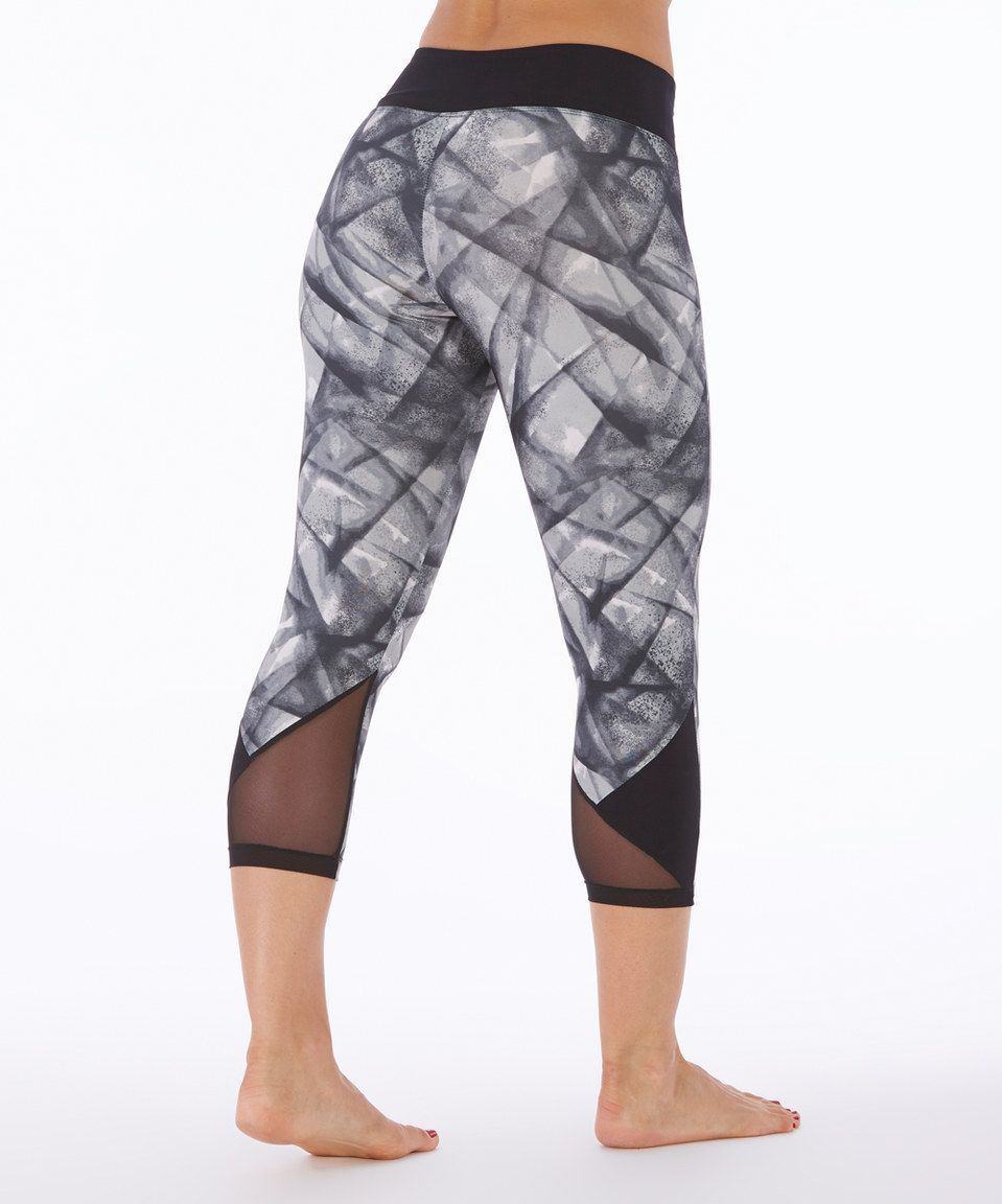 191bb9196cf22 Bally Total Fitness Black Crossed out Panel Capri Leggings by Bally Total  Fitness #zulily #zulilyfinds