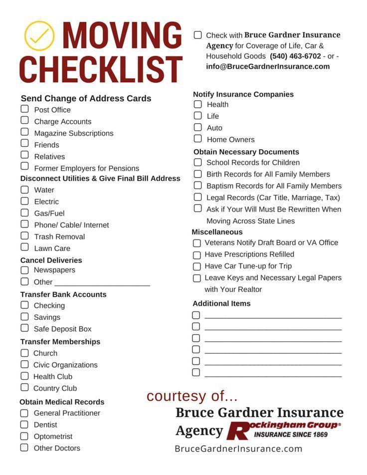 Moving Checklist PDF Bruce Gardner Insurance Agency