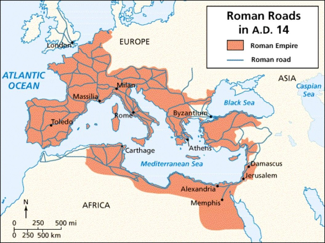 Map Roman Roads 14 Ad