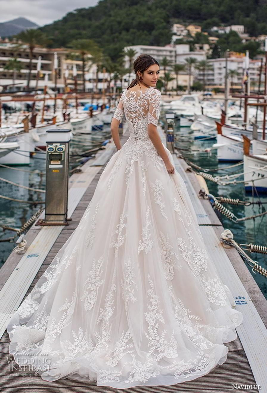 6d8da03dc8 naviblue 2019 bridal half sleeves illusion bateau sweetheart neckline  heavily embellished bodice hem a line wedding