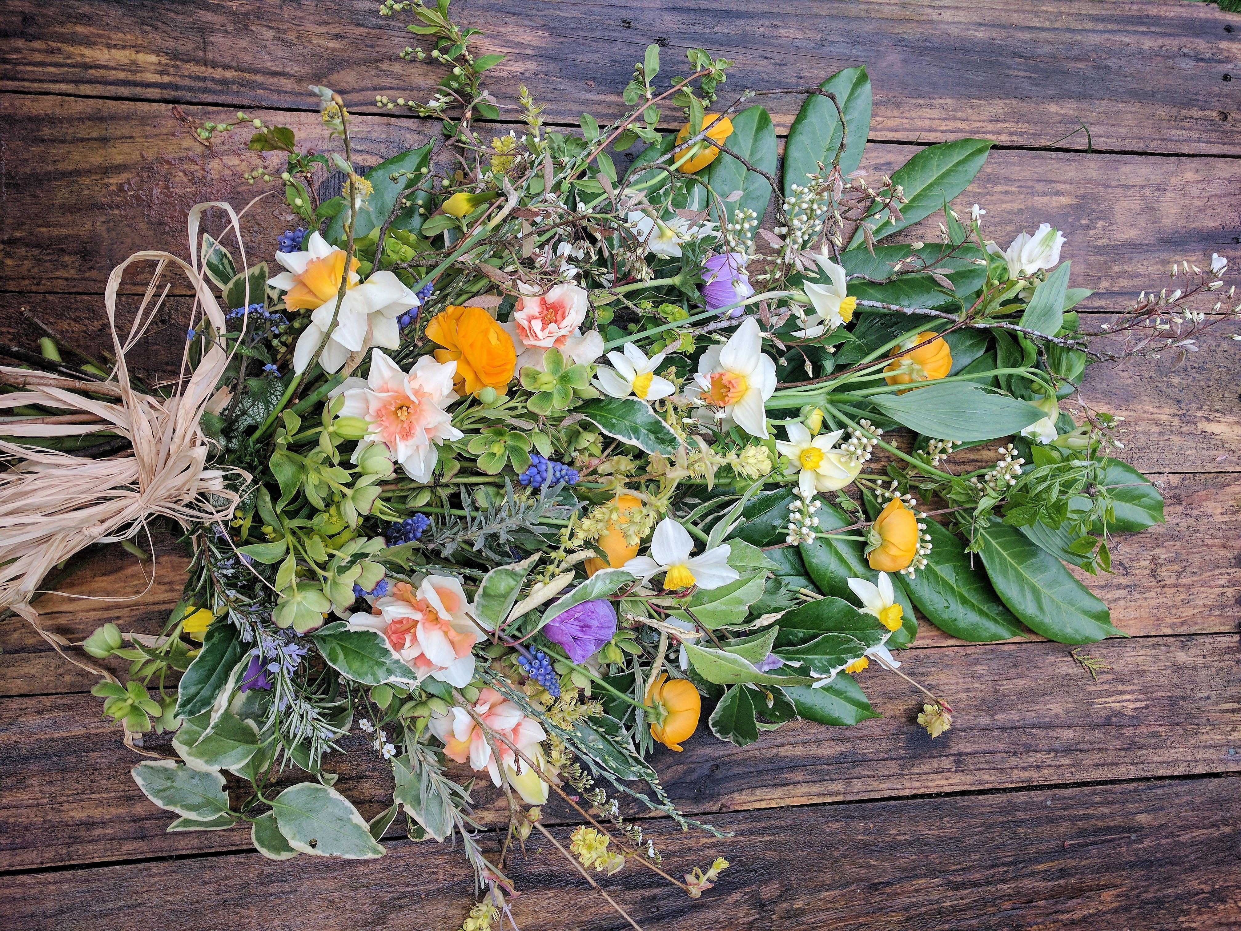 Daffodils Bluebells Funeral Sheaf All British Natural Floral