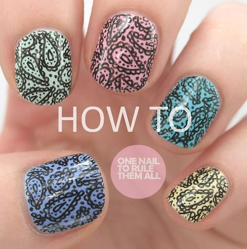 onenailtorulethemall:    I did a tutorial for my paisley print nails! You can read up on how to do it on my blog