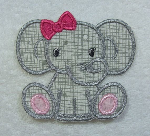Crochet Elephant Applique | Baby Elephant (girl) Fabric Embroidered Iron On Applique Patch Ready ...