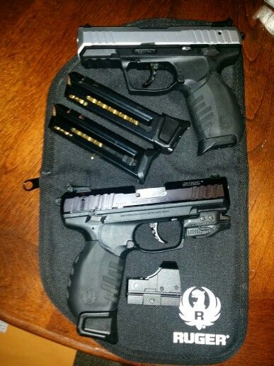 Ruger SR22 with aftermarket +5 magazine extension from 10+1 to 15+1