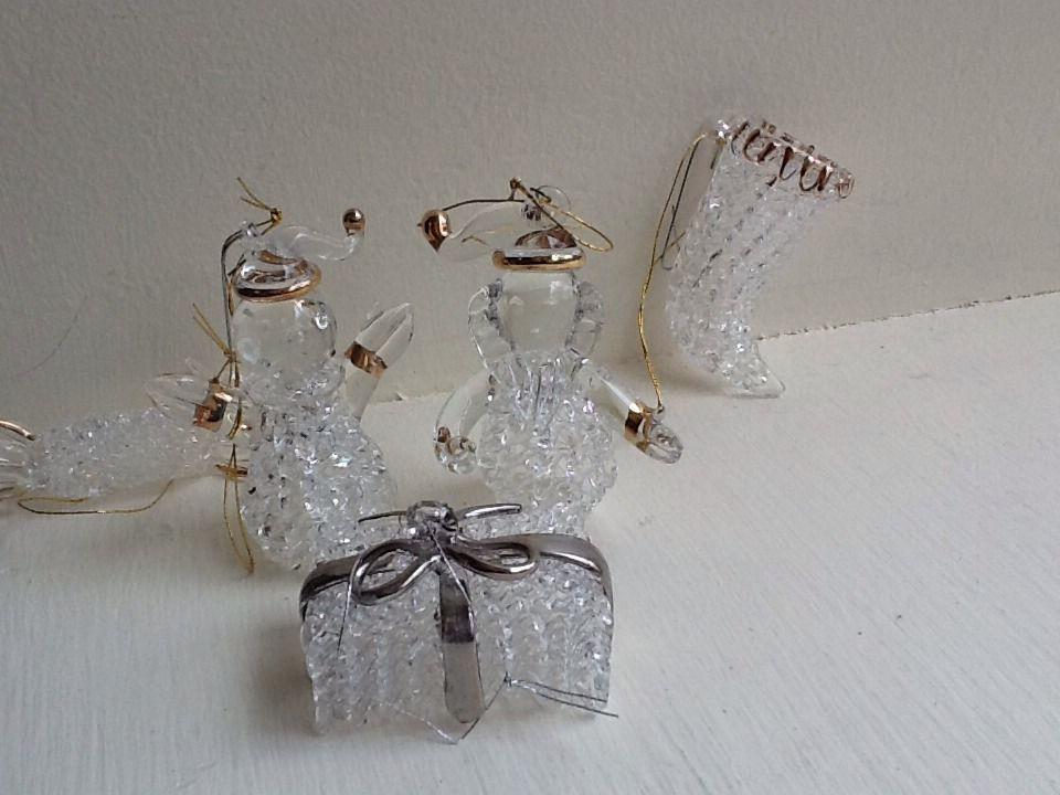 lot 5 vintage spun glass ornaments boot candy gift 2 santa snowmen - Santa Snowman 2