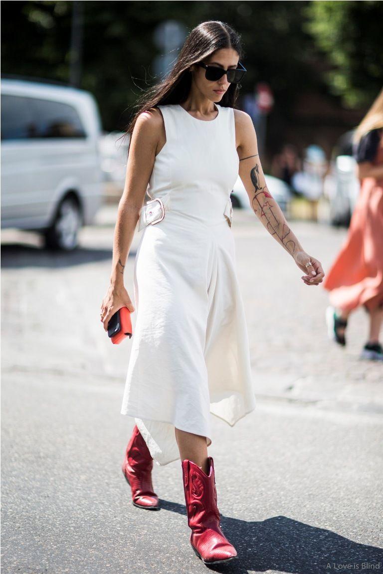 3779b7a7025 Gilda Ambrosio  Effortlessly Cool Street Style – Glam Radar Red Cowboy Boots